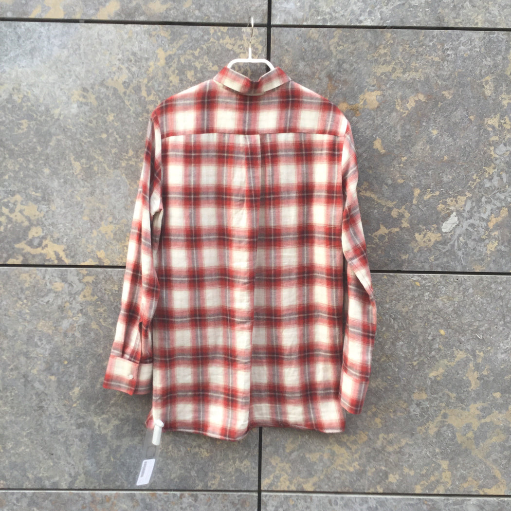 Red-White Cotton Maje Flannel Shirt Elongated Size S/M