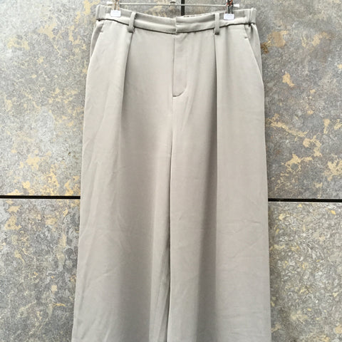 Beige Polyester Modern Uniqlo High Waist Pants Wide Leg Cropped Pants Size 28/29