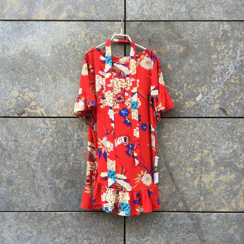 Red-Colorful Polyester Modern Vintage Cocoon Dress Ruffled Size XS/S
