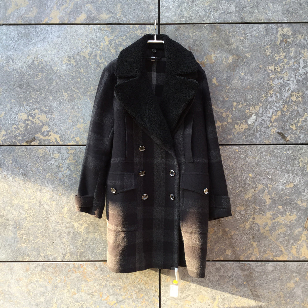 Black-Dark Grey Wool Mix Burberry Brit Peacoat Special Button Collar Detail Size M/L