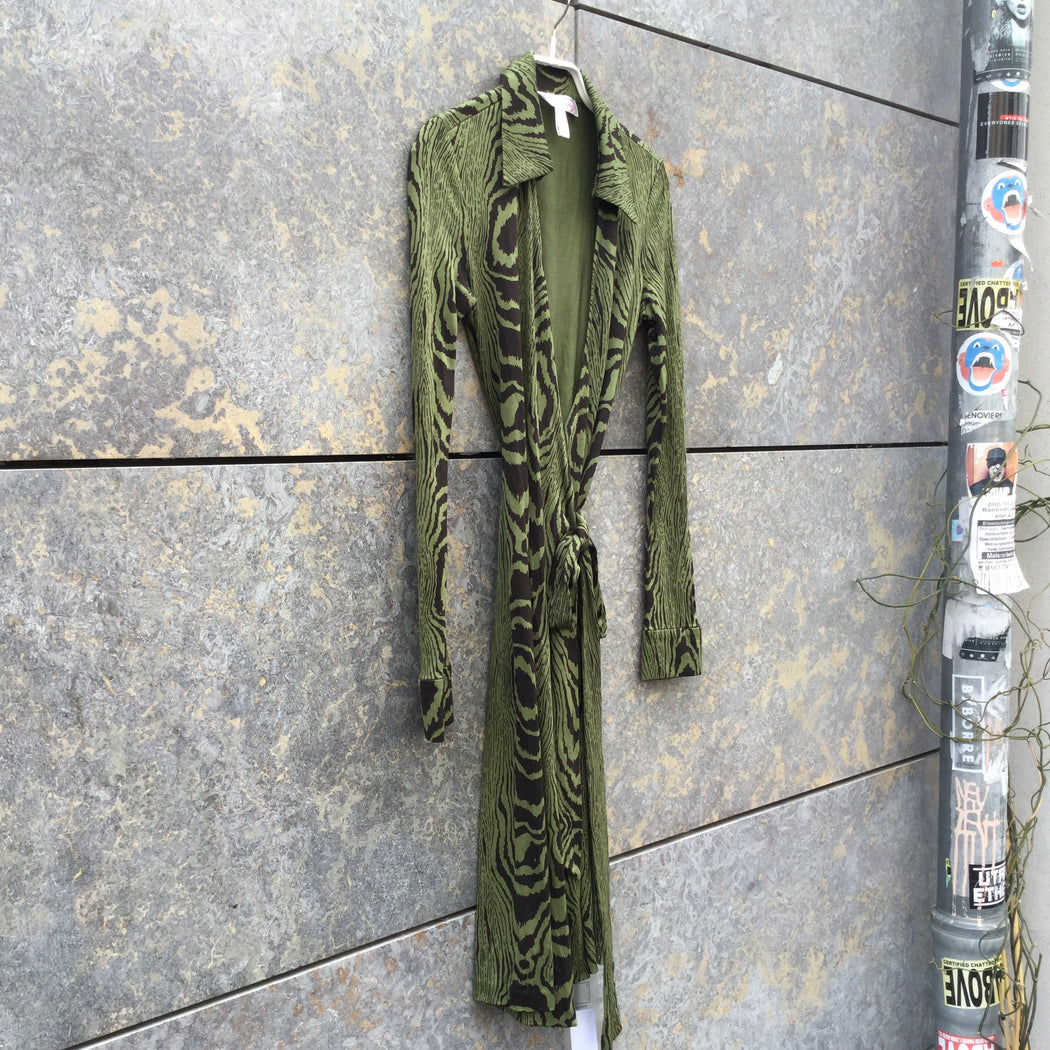 Black-Green Silk Diane Von Furstenberg Wrap Dress  Size Xs/S