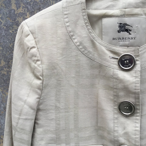 Beige Cotton / Silk Mix Burberry Light Jacket Special Button Size M/L