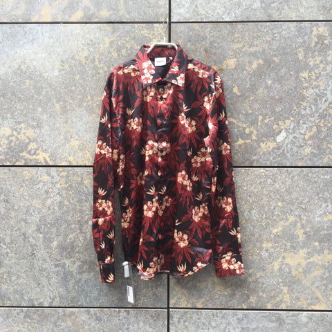 Red-Black Polyester Modern SSS Corp Hawaii Shirt  Size M