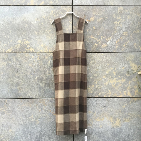 Brown Tone Mix Rayon Mix Directional Vintage Halter Dress Elongated Size S/M