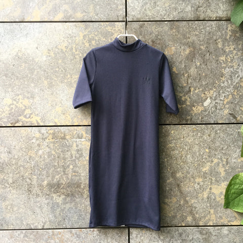 Midnight Blue Synthetic Adidas Jersey Dress Mandarin Collar Size S/M