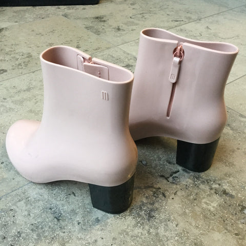 Pastel Pink-Black Rubber Melissa Ankle Boot Heels  Size 38