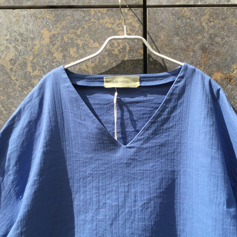 Blue Cotton Mix Independent Designer Top SS Oversized Size S/M