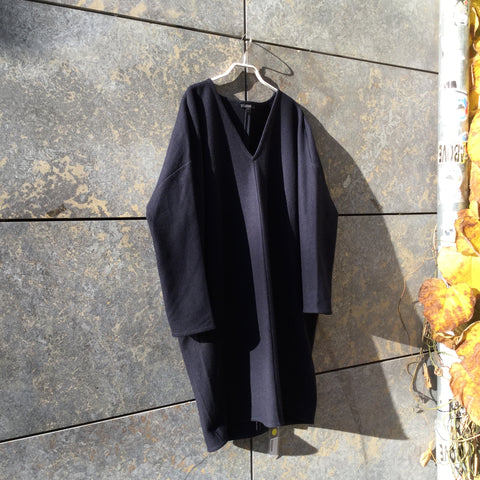 Midnight Blue Wool / Polyamide COS Cocoon Dress V-neck Size M/L