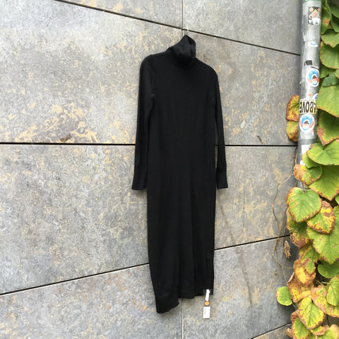 Black Wool COS Midi Dress Turtle Neck Size S/M