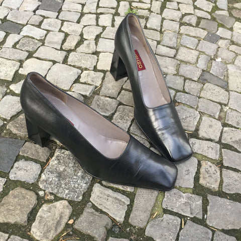 Black Leather Kenzo Pumps Heels Square Toe Size 10