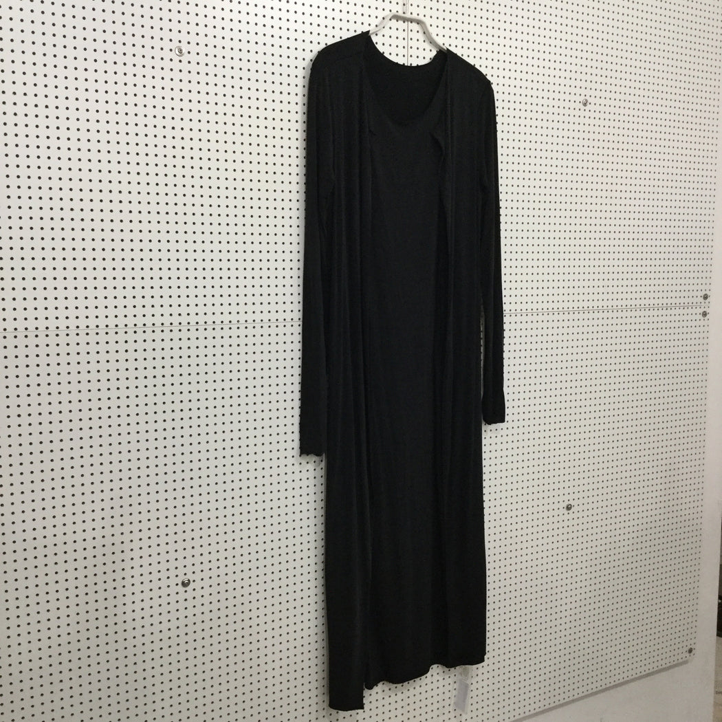 Black Polyester Mix Independent Midi Dress Conceptual Detail Loose-fit Size M/L