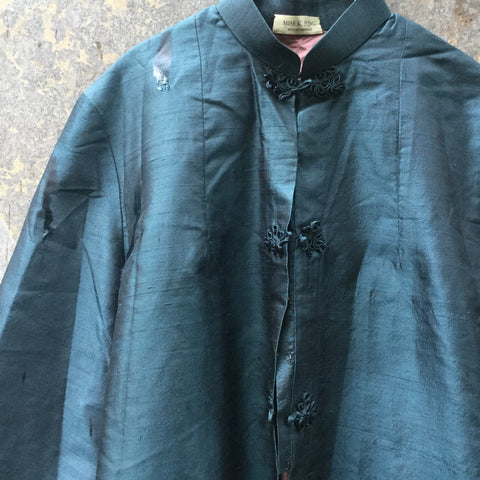 Teal Silk Mix Vintage Jacket Loose-fit Mandarin Collar Special Button Size S/M