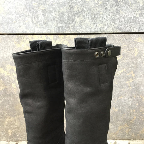 Black Leather Rick Owens Knee-High Boots  Size 9