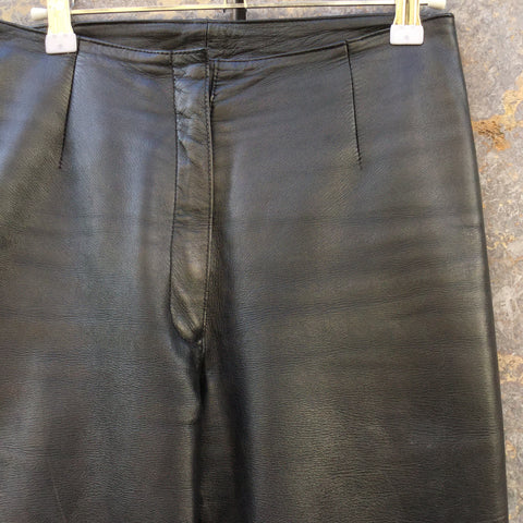 Black Leather Vintage Trousers  Size 28/29