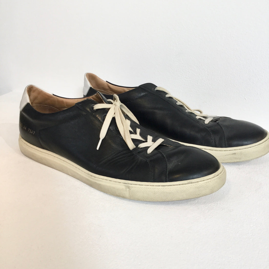 Midnight Blue-White Leather Mix Common Projects Sneakers Minimalist Detail