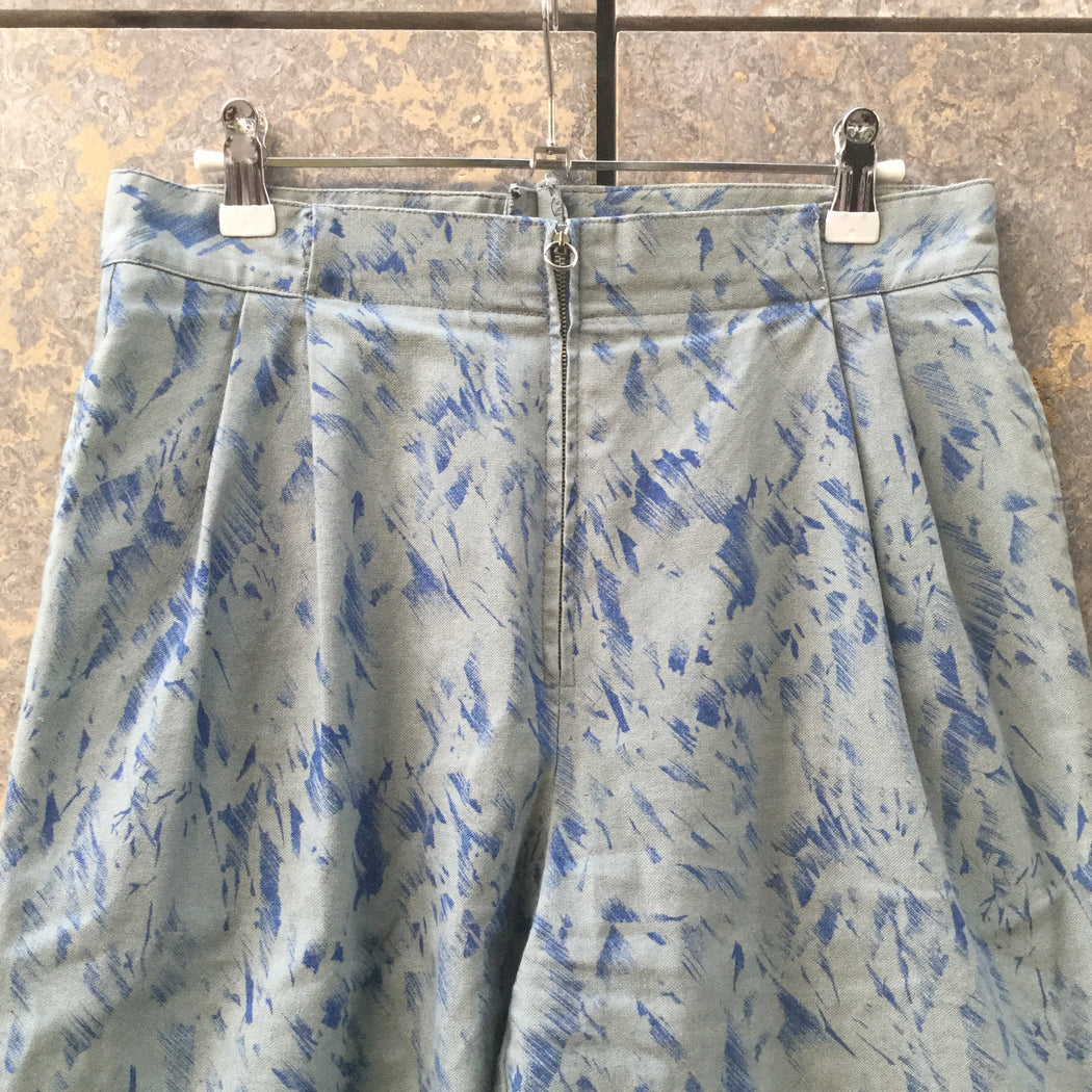 Blue Tone Mix Cotton Mix Independent High Waist Pants Pleated Size 30/31