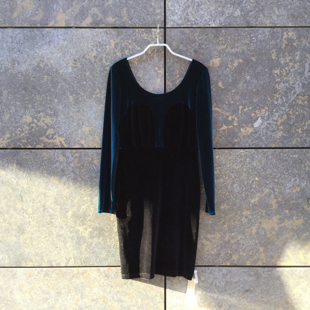 Blue-Black Polyester Modern Contemporary Dress  Size S/M