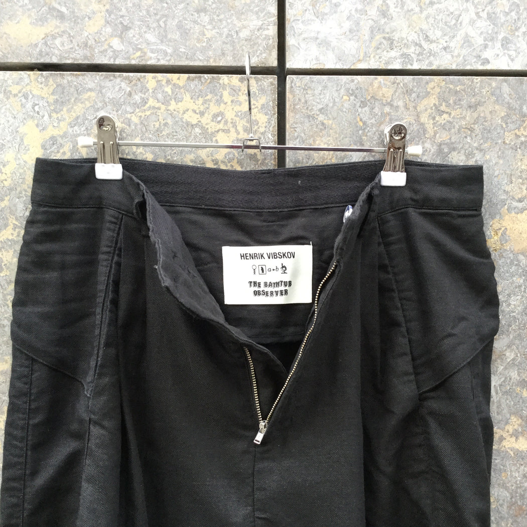Black Cotton / Linen Mix Henrik Vibskov Trousers Pleated Size 30