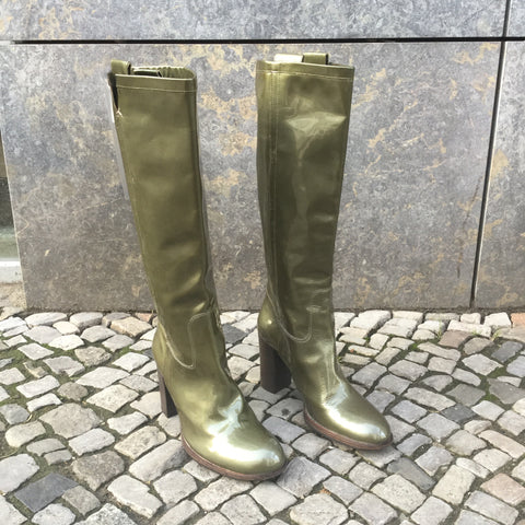 Military Green Leather Hugo Boss Knee-High Boots  Size 9.5