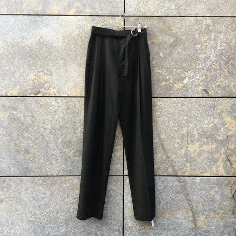 Black Wool Carven High Waist Pants Pleated Buckled Size 28/29