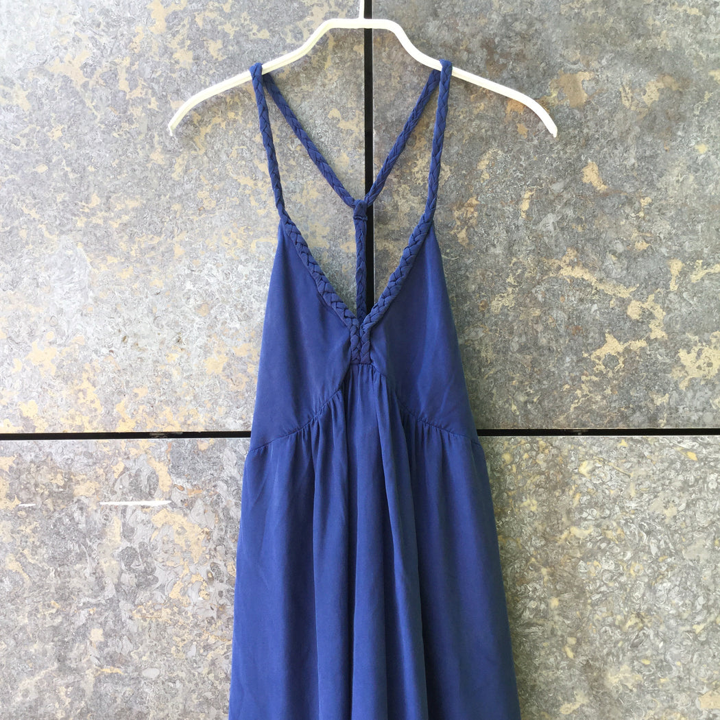 Dark Blue Silk Sandro Tank Dress Racer Back Size M/L