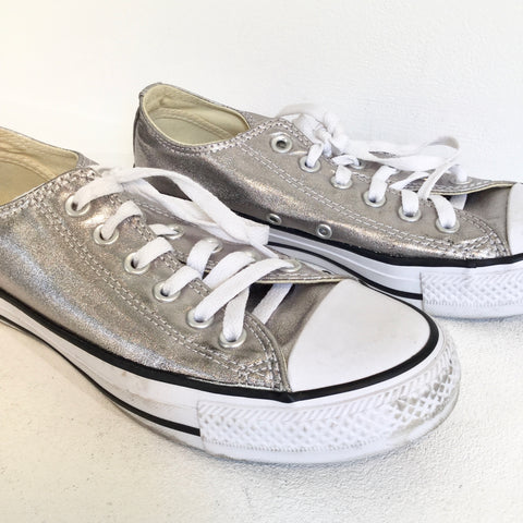 Silver Canvas Converse Sneakers  Size 37