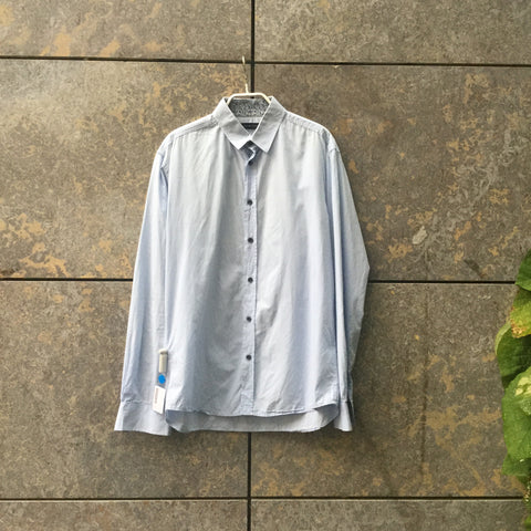 Pale Denim Blue Cotton Selected Homme Shirt Button Through Collar Detail Size M/L