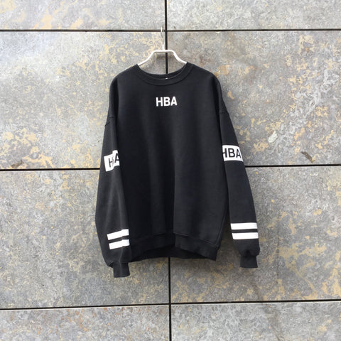 Black-White Cotton HBA Hood By Air Sweatshirt Oversized Size Os