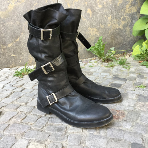 Black Leather Ann Demeulemeester Boots Buckled Size 9.5