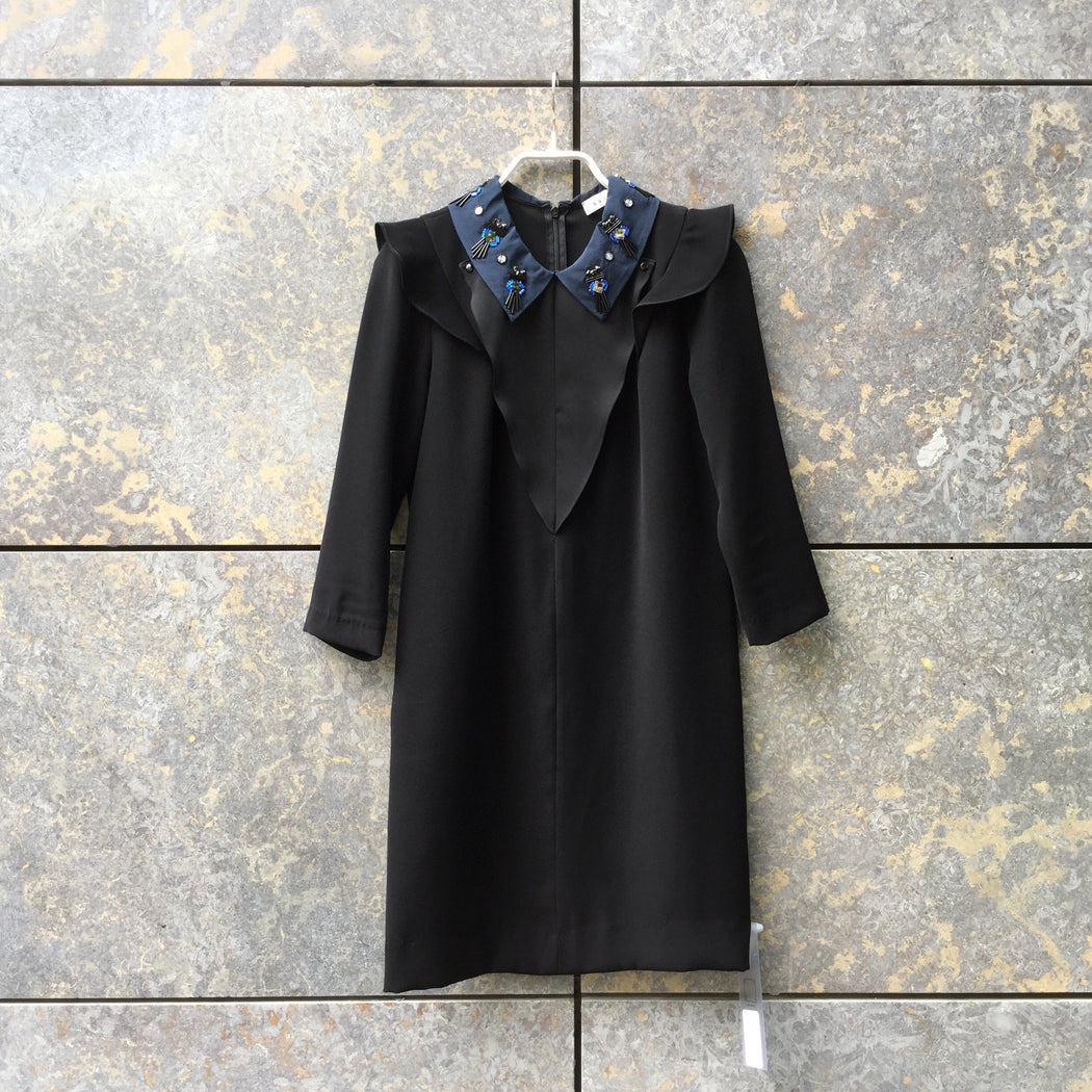 Black-Navy Polyester Modern Sandro Smock Dress Attachment Size S/M