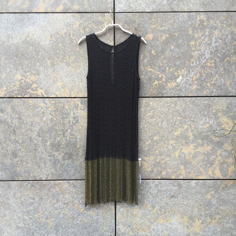 Black-Gold Cotton / Acrylic Mix Directional Vintage Layer Dress  Size S/M