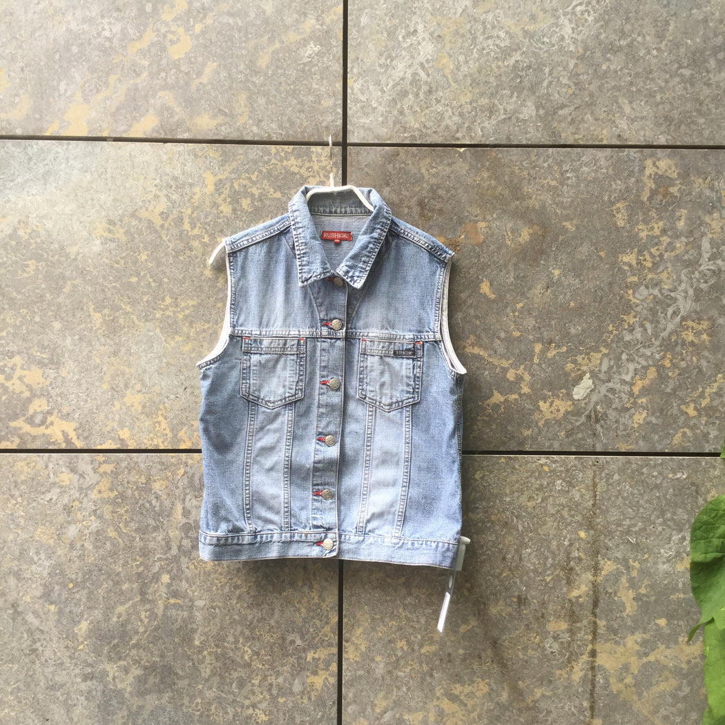 Red-Blue Grey Denim Vintage Vest Stitching Detail Size S/M