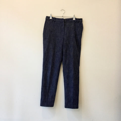 Dark Blue-White Wool Mix Vintage Trousers  Size 29/30