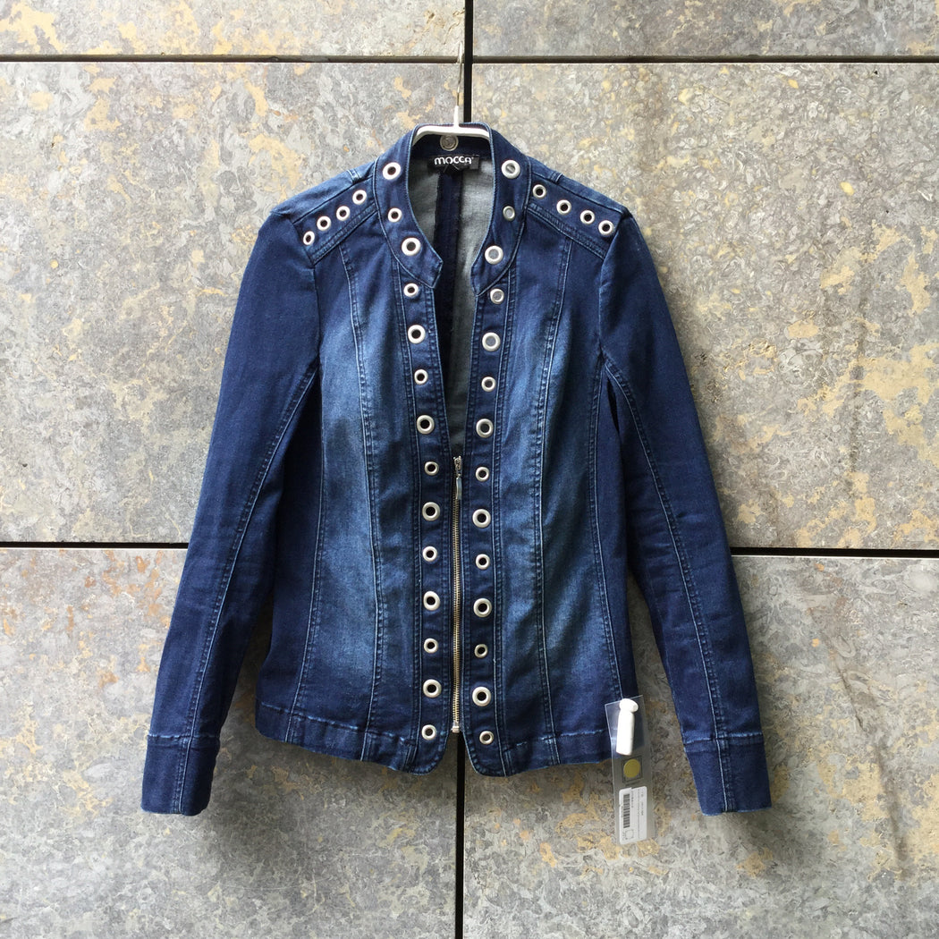 Dark Blue-Silver Denim Contemporary Main Jeans Jacket Conceptual Detail Size XS/S