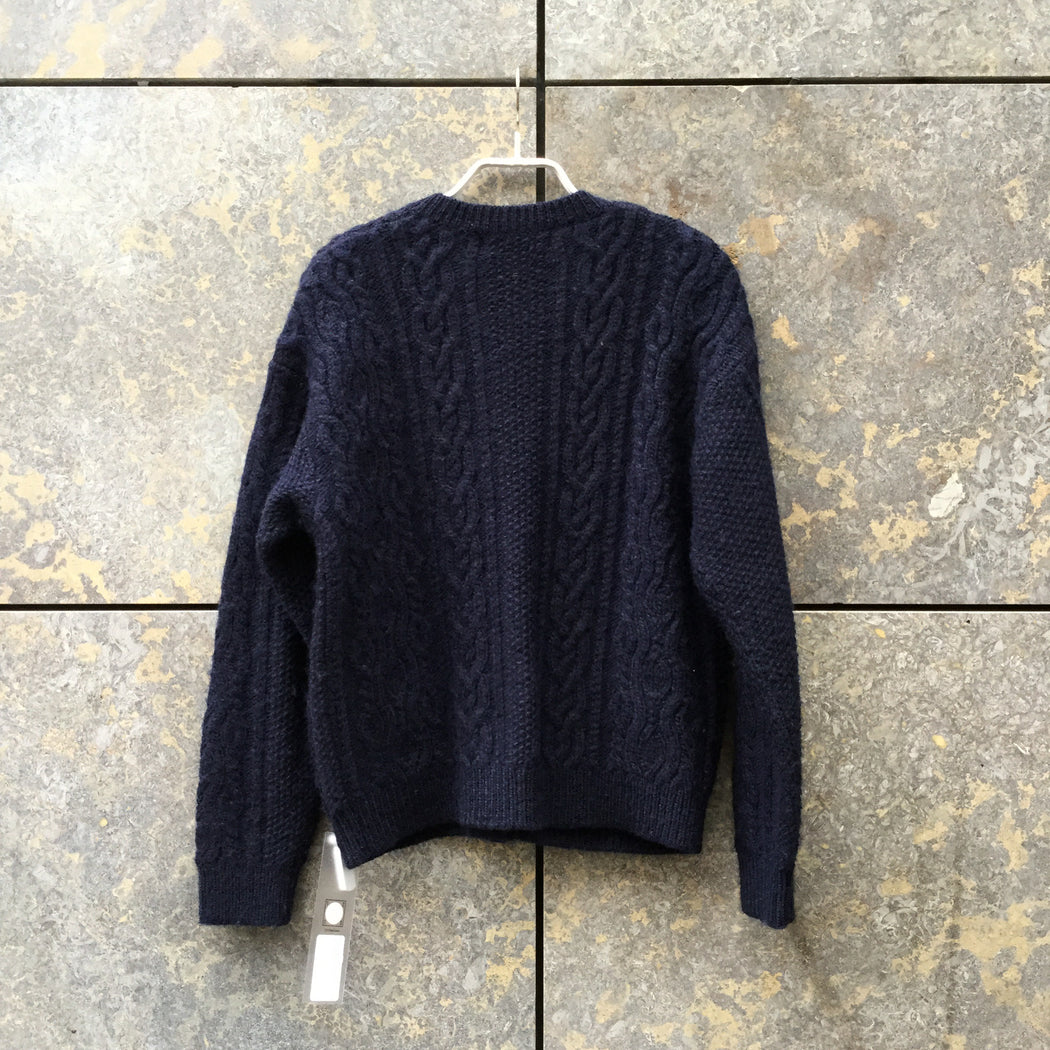 Midnight Blue-White Wool Mix Uniqlo X Ines Des La Fressange Cardigan Big Button Size S/M