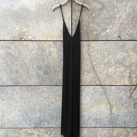 Black Polyester Modern American Apparel Slip Dress Elongated Size L/XL