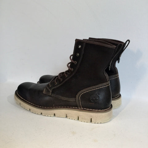 Chocolate-White Leather Timberland Boots  Size 43