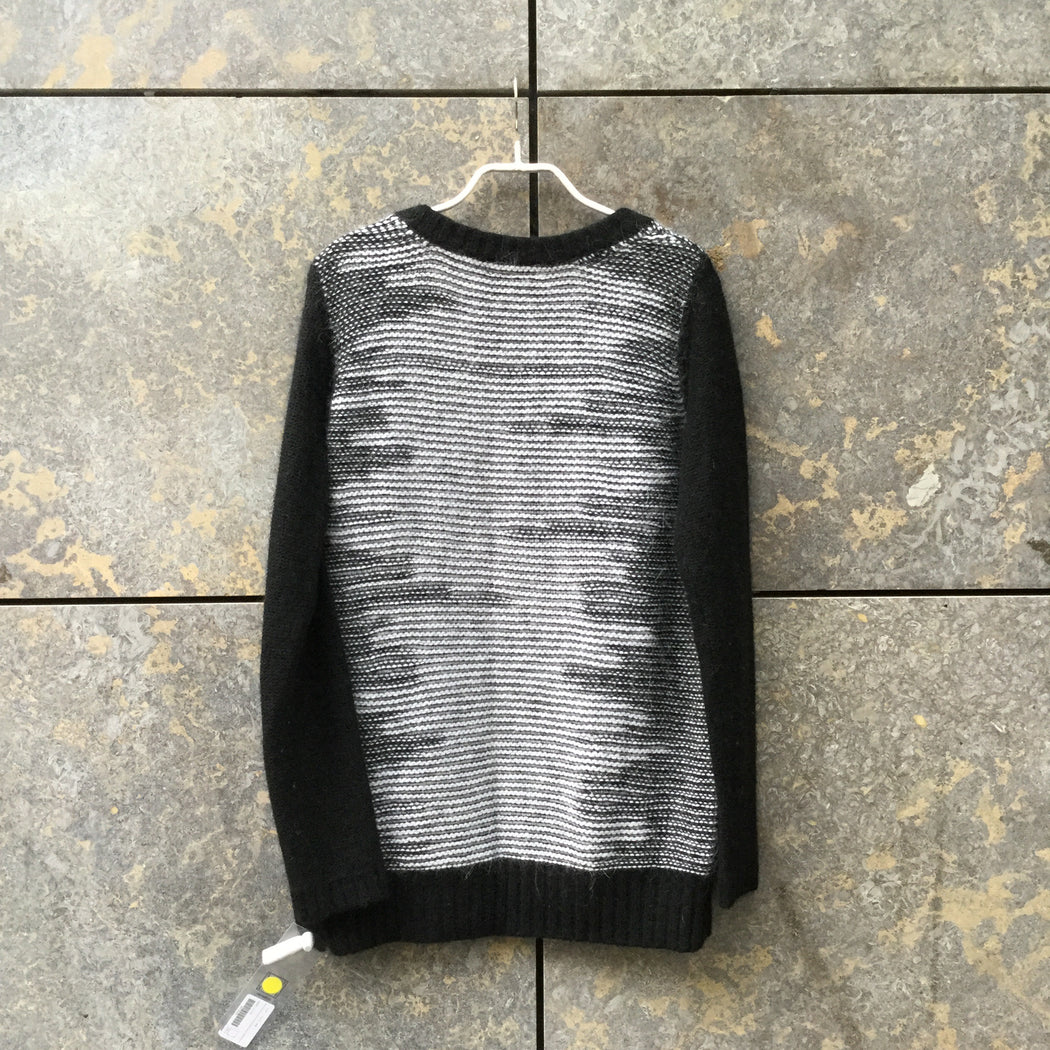 Black-White Wool Angora Contemporary Main Sweater Loose-fit Size S/M