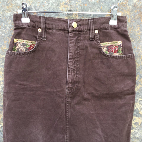 Burgundy Cotton Vintage Mini Skirt Embroidered High Waist Size 26/27