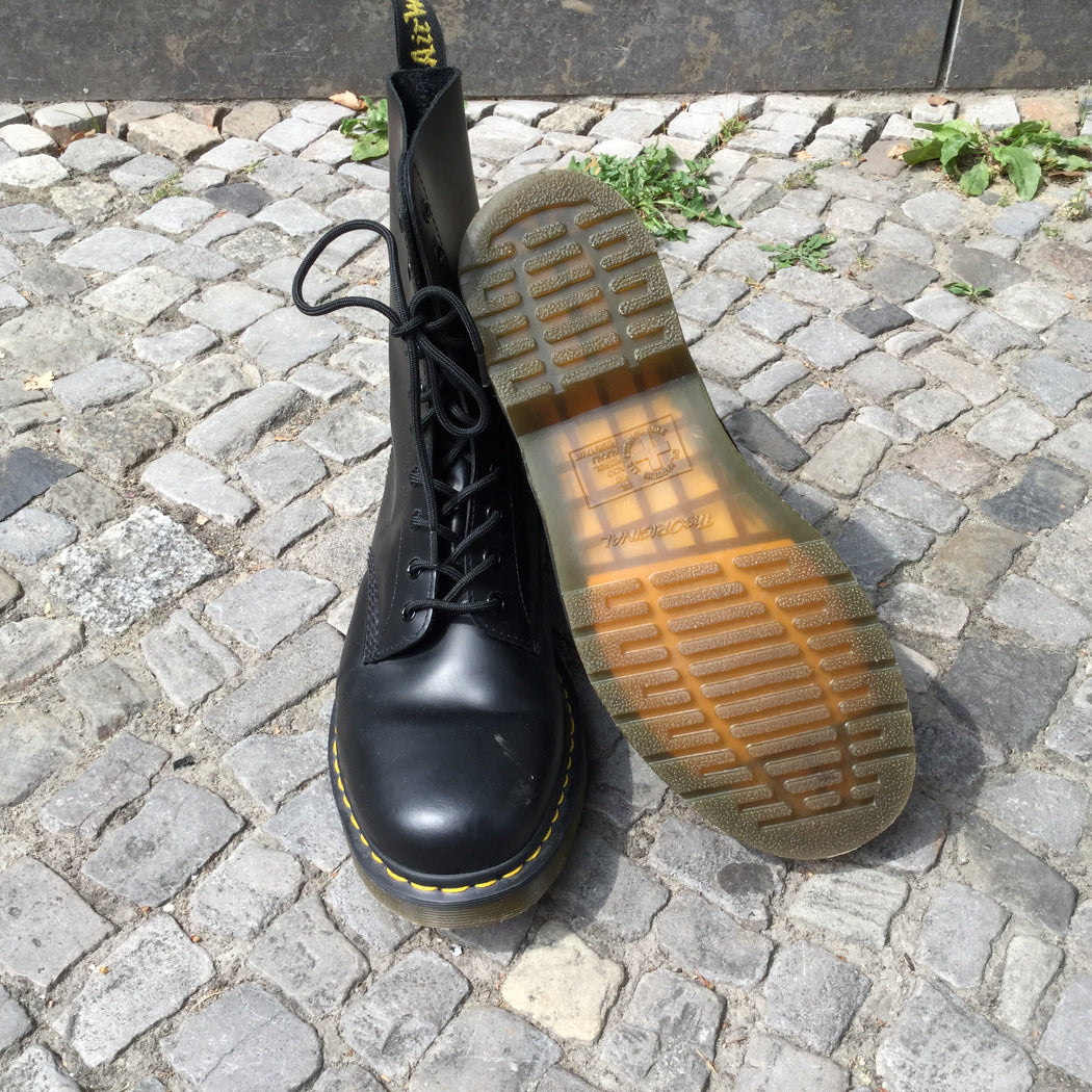 Black Leather Dr. Martens Boots  Size 12
