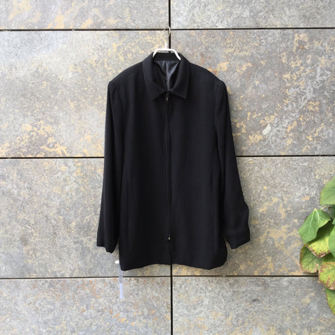 Black Polyester Mix Vintage Light Jacket Oversized Size S