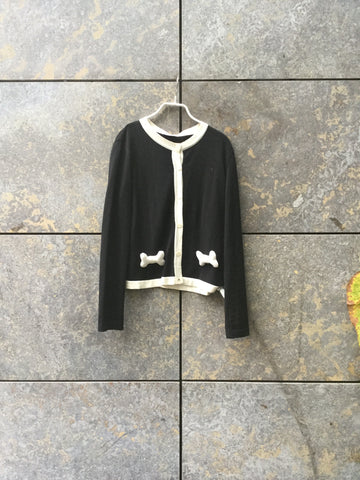 White-Black Wool Mix Moschino Cardigan Conceptual Detail Pocket Detail Size S/M