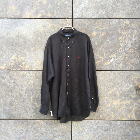 Faded Black Silk / Linen Mix Ralph Lauren Oversized Shirt  Size L