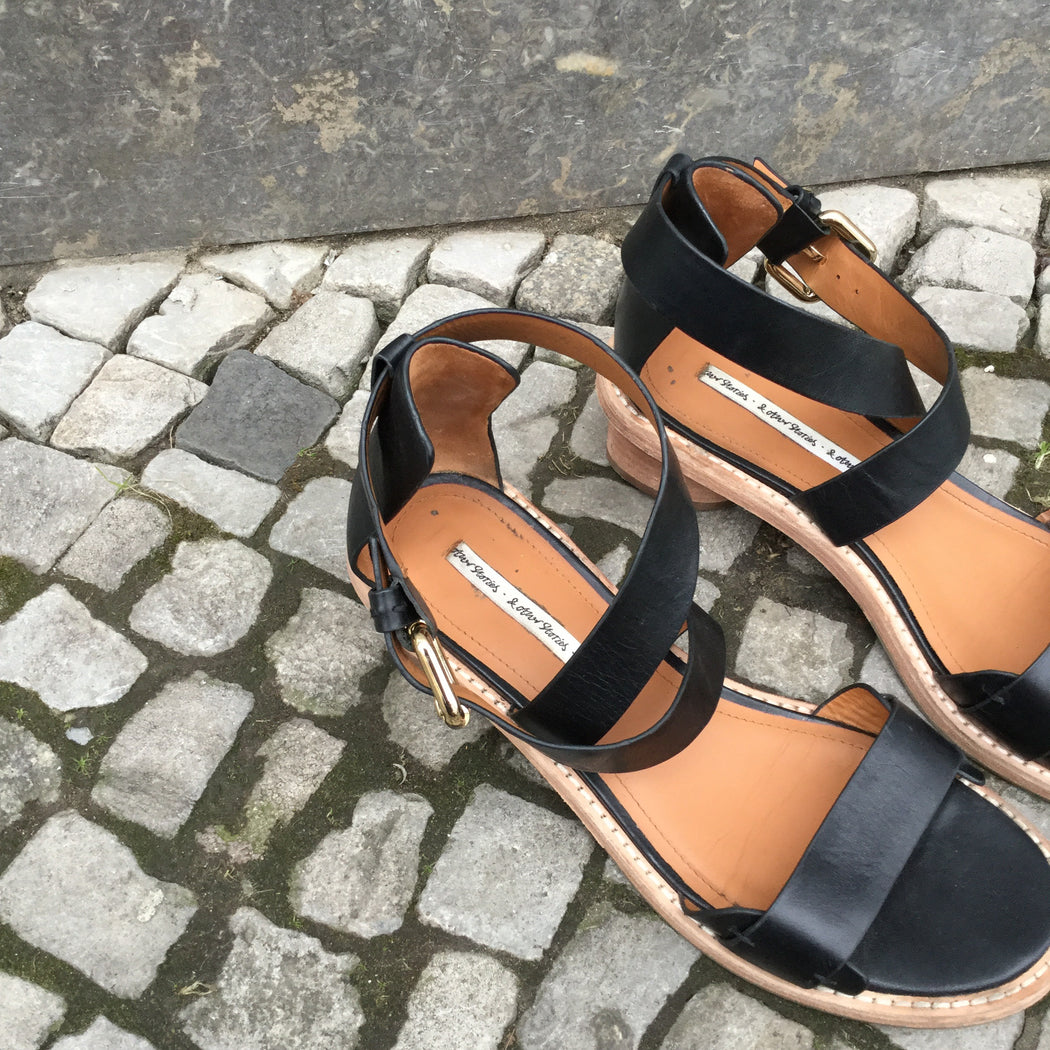 Black Leather Other Stories Sandal Heels  Size 8.5
