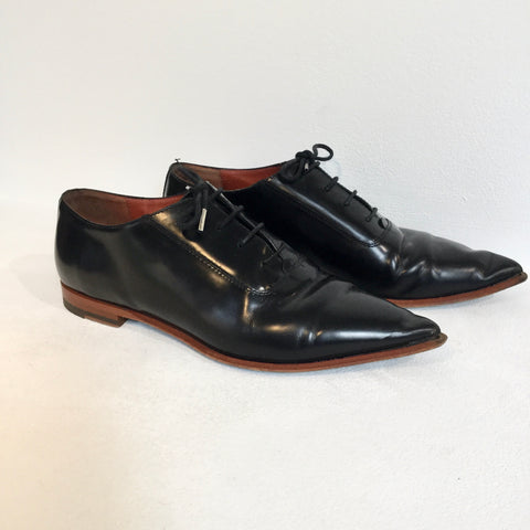 Black Leather Acne Studios ( Womens ) Derby Pointy Toe Size 39