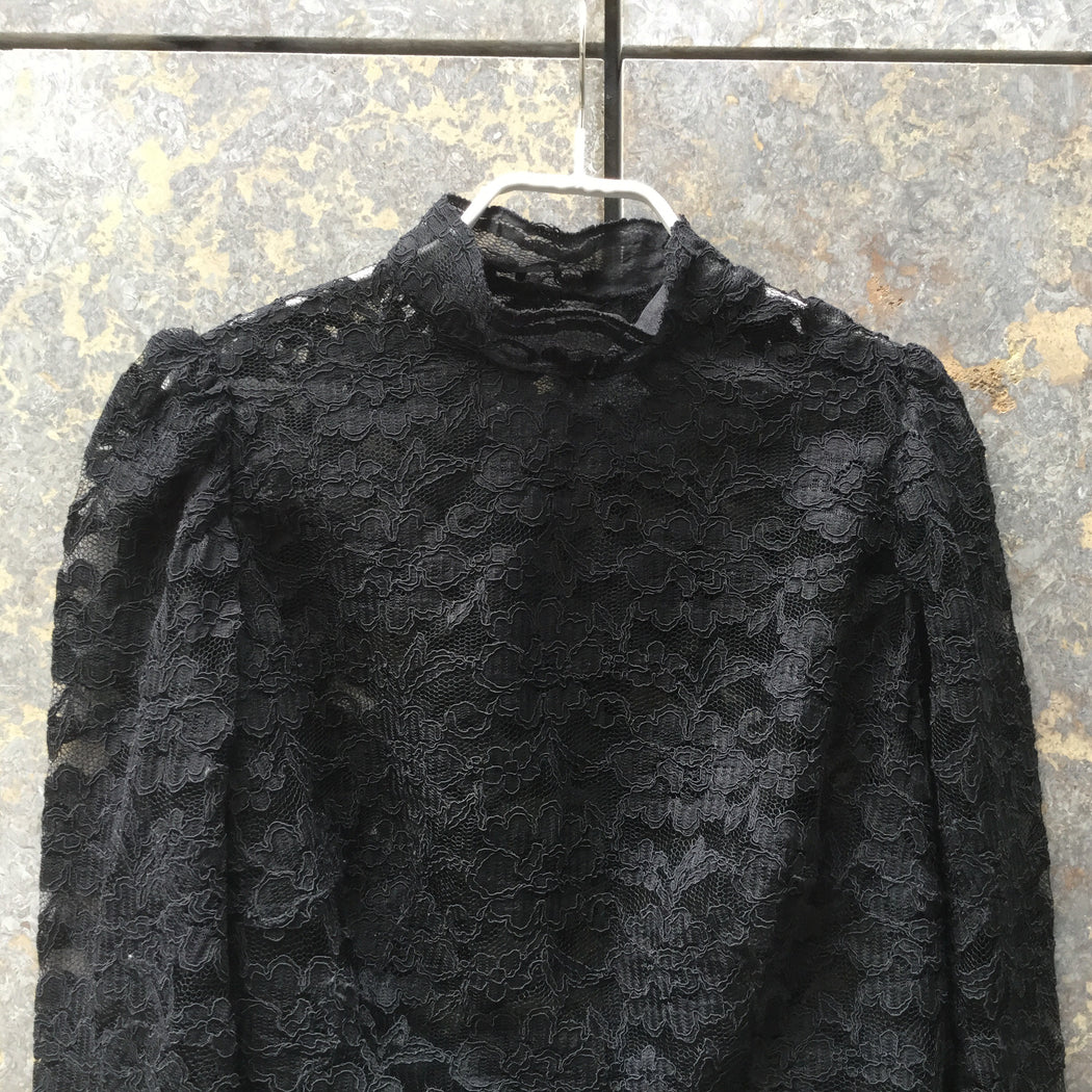 Black Lace Vintage Top LS Turtle Neck Size M/L