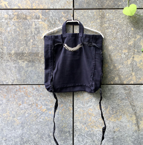 Midnight Blue-Black Wool / Polyester Mix Comme Des Garcons Tote Bag Straps Discs Chain