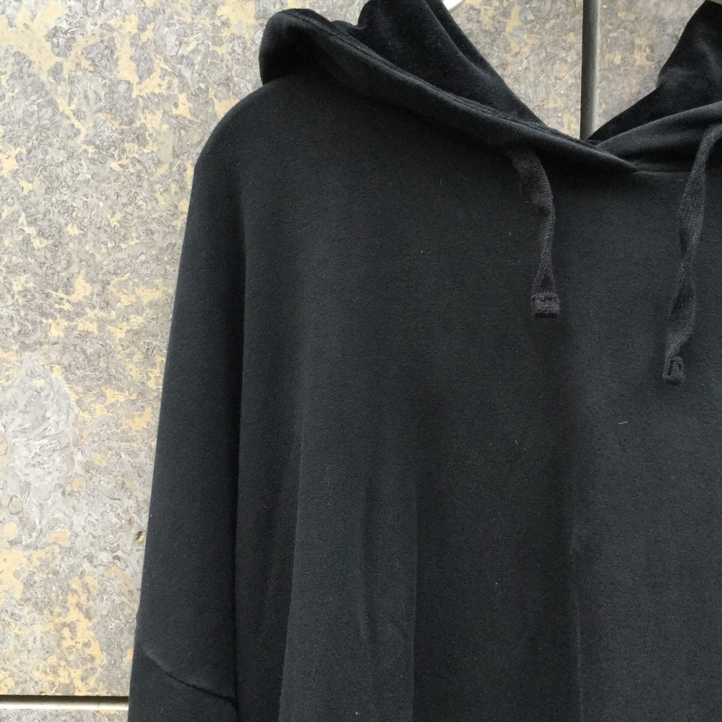 Black Cotton / Acrylic Mix Contemporary Hoodie Oversized Size L/Xl
