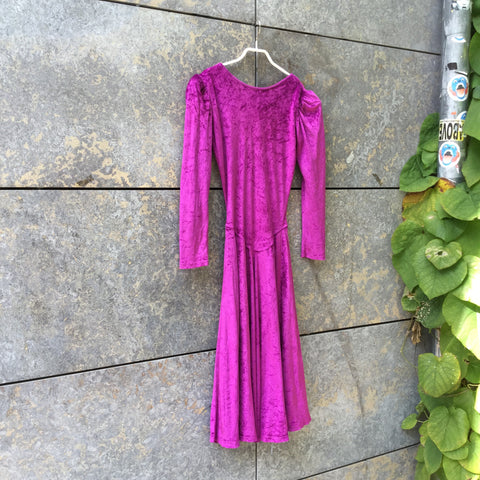 Pink Velvet Vintage Maxi Dress Open-backed Size S/M