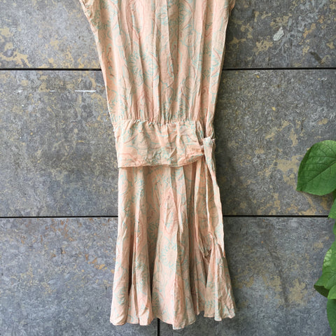 Pastel Pink-Light Blue Silk Vintage Maxi Dress  Size M/L